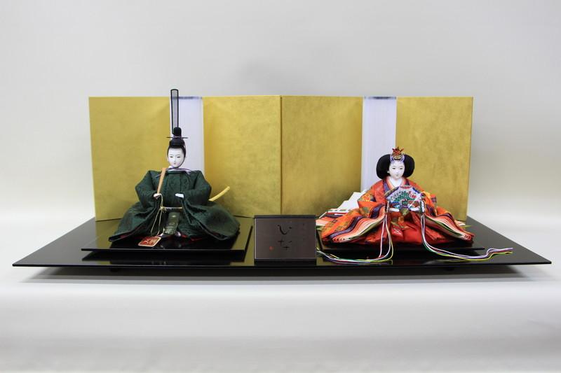 雛人形 親王飾り 二人飾り シンプル ひな人形 清水久遊作 三五親王正絹唐織02-133 四曲金屏風越前塗布目台平飾り