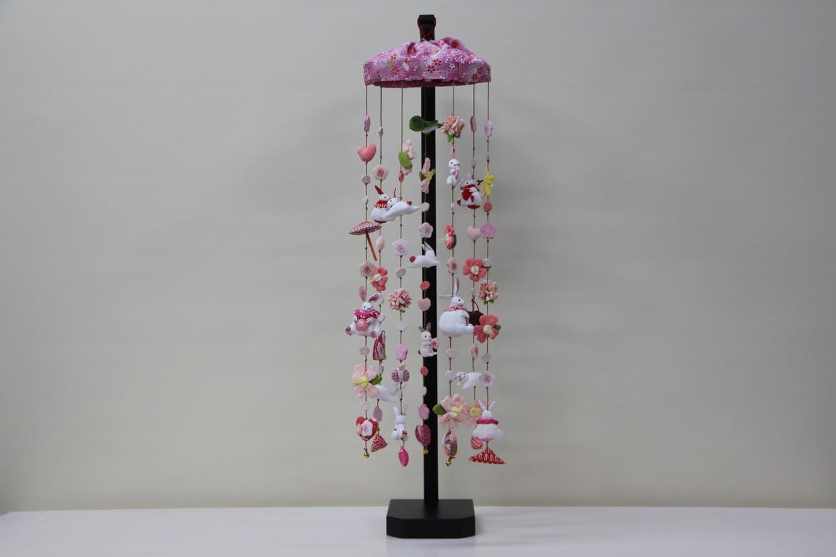 うさぎピンク 7連 吊るし飾りセット 高さ70cm (三月雛人形)【桃の節句】(卓上大)