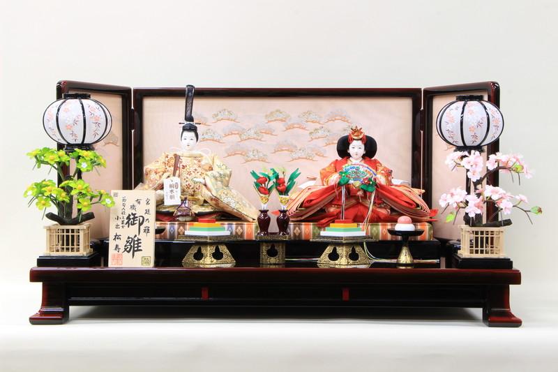 雛人形 コンパクトひな人形 親王飾り 作家 小出松寿 十番平安親王飾り 金襴金茶 姫赤