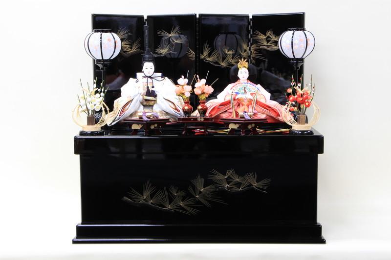雛人形 コンパクトひな人形 親王飾り 収納飾り 桜柄刺繍親王黒塗り金松柄収納飾り