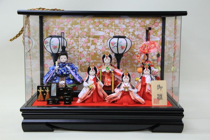 雛人形 コンパクト ケース 舞桜 5人つるし飾り付き アクリルケース あす楽対応
