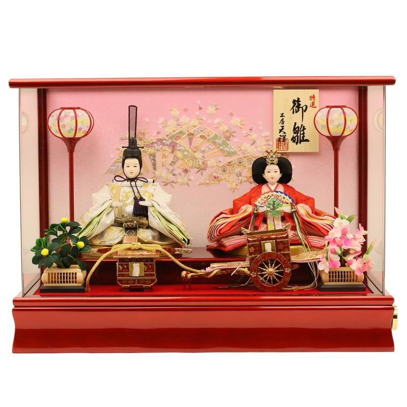 雛人形 ケース飾り コンパクト ひな人形 ケース飾り コンパクト ひな人形 親王飾り 衣装着ひな人形 「芥子親王雛 舞春雛」 ケース入り(アクリルケース)ラインストーン玉櫛付き 2-3-2