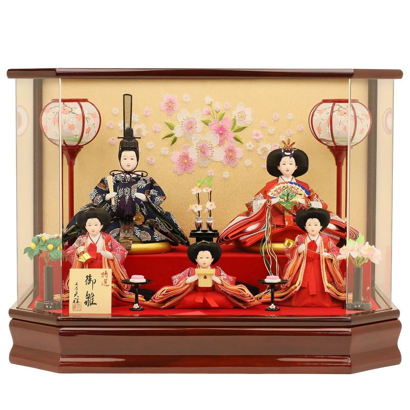 雛人形 ひな人形 ケース飾り 雛祭り コンパクト 五人飾り 五人揃え 衣装着ひな人形 芥子親王雛 三人官女付 アクリルケース