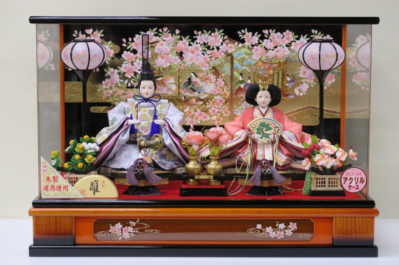 雛人形 ケース飾り 三五親王飾り パノラマアクリルケース  木製道具使用 (No.OH2-8)