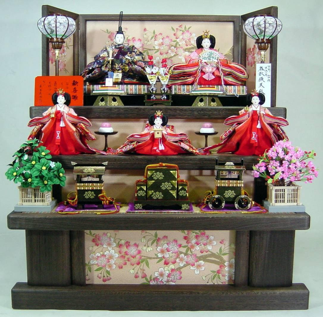 100歓喜雛正絹本金5人 (焼き桐3段飾り) 【雛人形三段飾り】