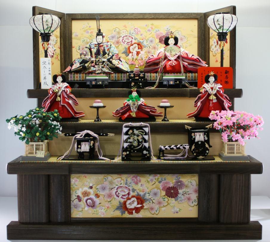 120歓喜雛正絹5人 焼き桐3段飾り 再入荷 予約販売 全国どこでも送料無料 雛人形三段飾り