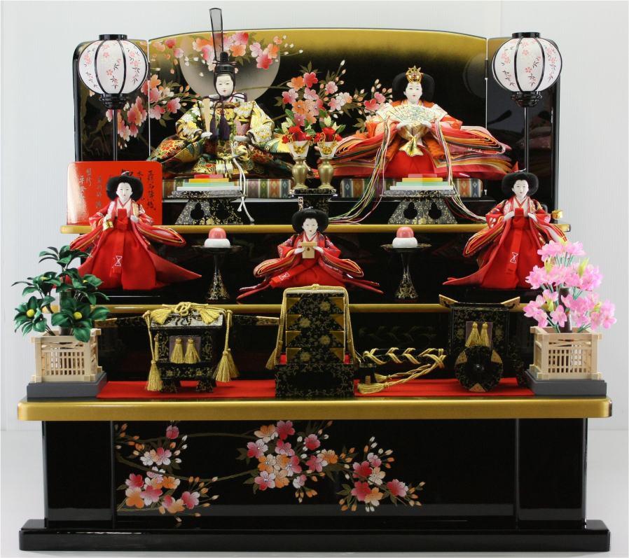 80歓喜雛(木製黒塗り5人3段飾り)  【雛人形三段飾り】