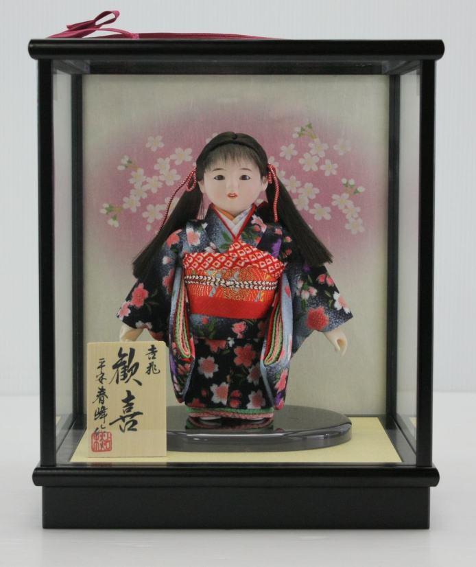 4号市松人形さくらNo.12木製枠ガラスケース扇桜バック飾り 【雛祭り】 【ひな人形】