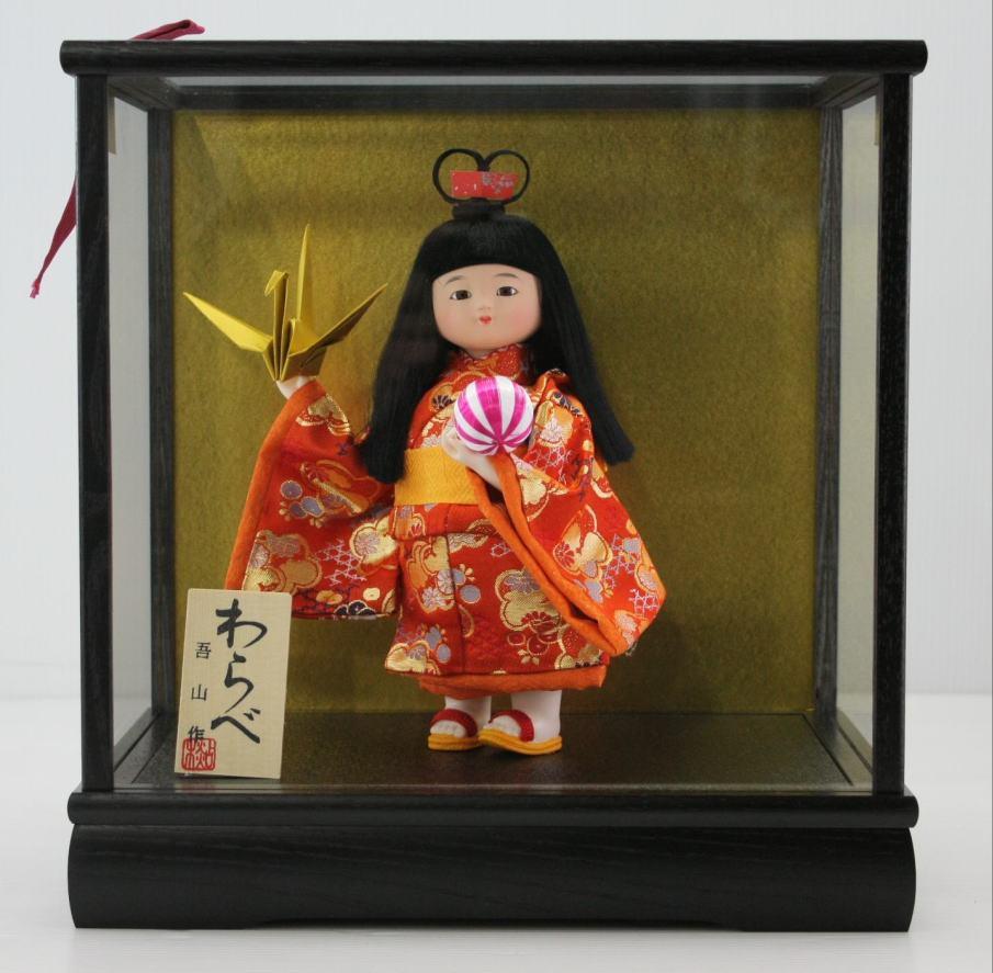5号わらべ人形平和木製枠ガラスケース飾り 【雛祭り】 【ひな人形】