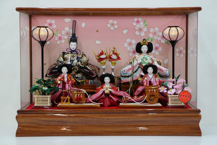 LEDコードレス雛人形アクリルケース35-5人(KK3-5) アクリルケース雛飾り 【雛人形ケース飾り】