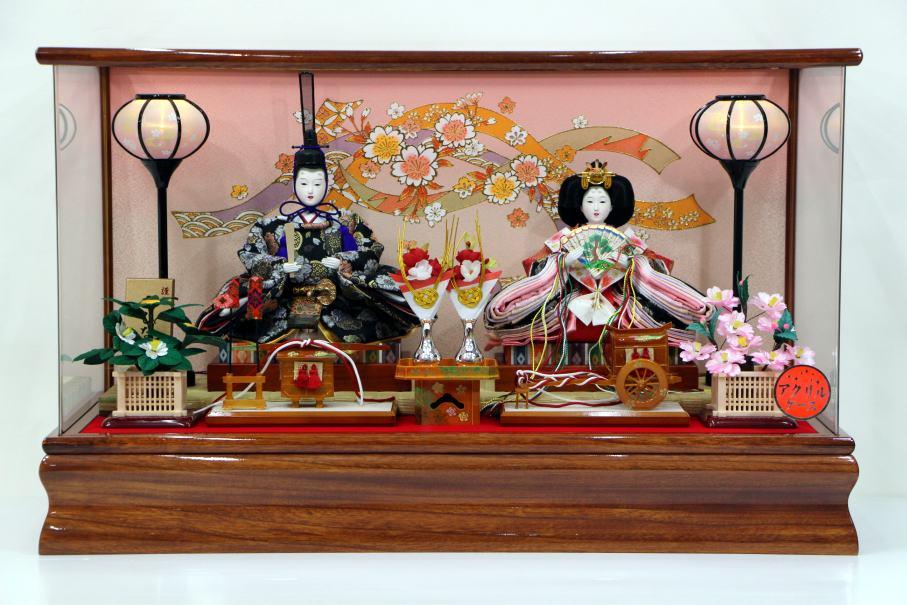 LEDコードレス雛人形アクリルケース三五-2人(KK3-4) アクリルケース雛飾り 【雛人形ケース飾り】