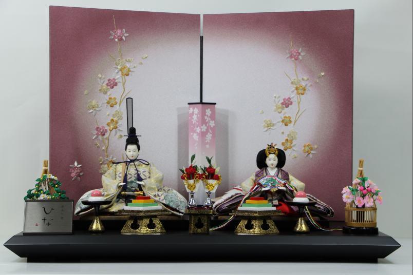 京三五正絹縫取り縮緬ひな人形桜刺繍紫ボカシ屏風平飾り