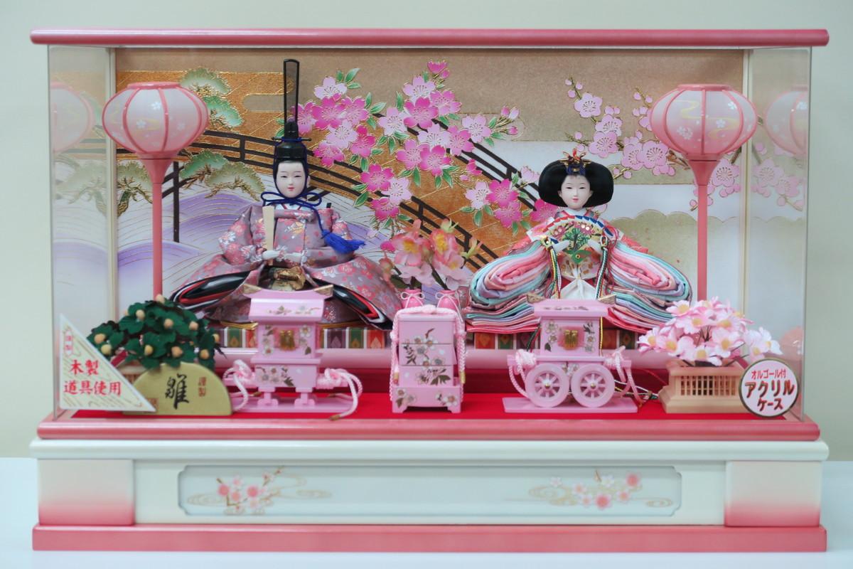 芥子二人 WP5-12 LED 新上アクリルケース 【親王ケース飾り】 親王飾り LED 木製道具 オルゴール付き 白ピンクケース 紫衣装 ピンク衣装