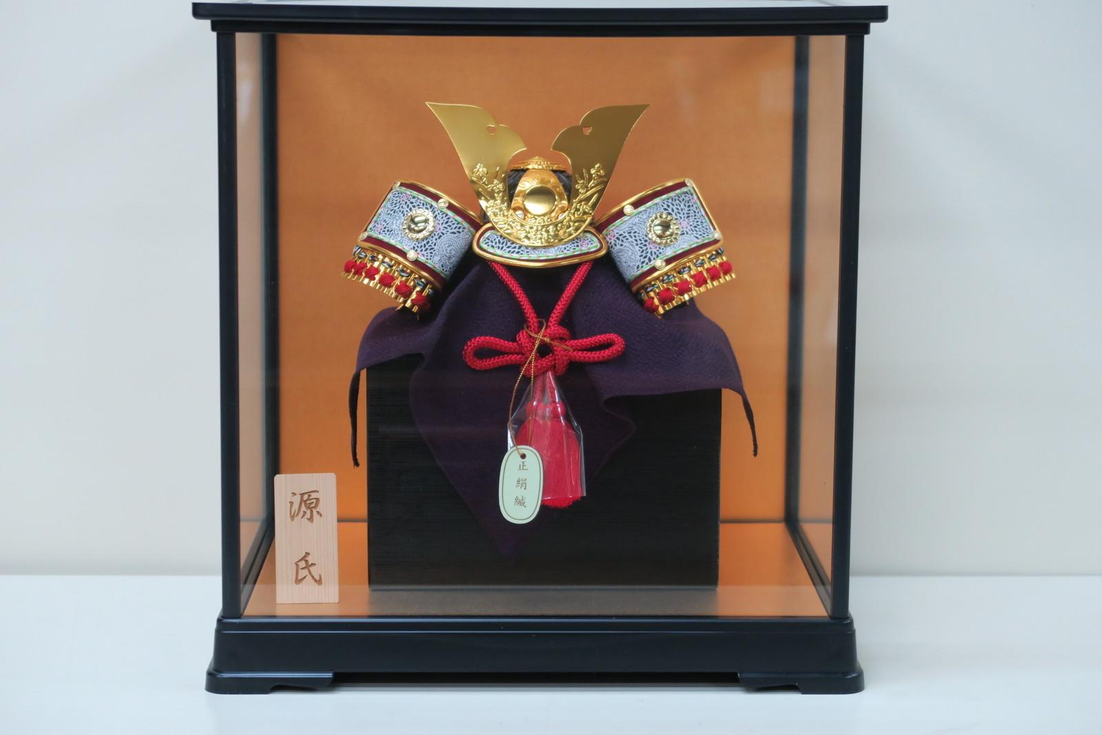 6号 源氏大鍬形ミニ兜折りたたみ式プラ枠ガラスケース