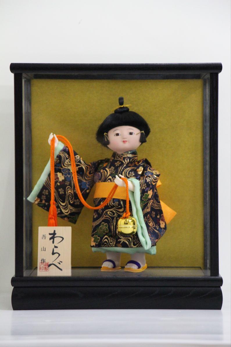 【日本のお土産】 5号 わらべ人形 福鈴 木製ケース