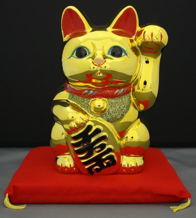 5号招き猫小判金(左手)(座布団付)