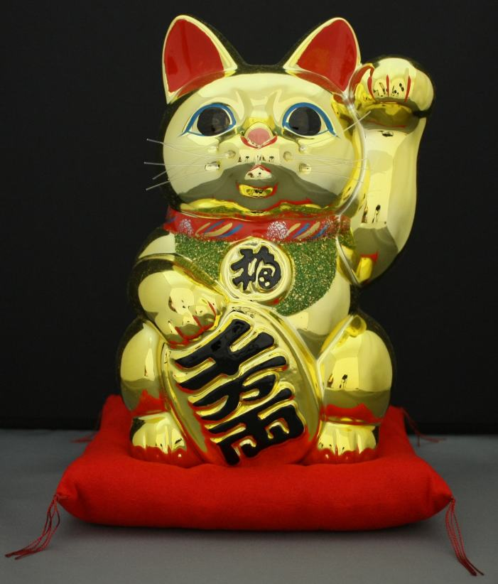 8号招き猫小判金(左手)(座布団付)
