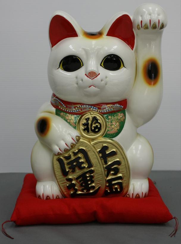 10号開運手長招き猫白 左手又は右手 数量限定 毎日激安特売で 営業中です 座布団付