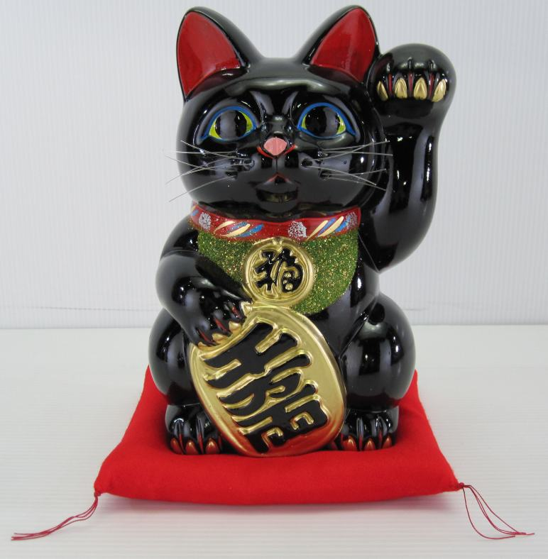 10号招き猫小判黒(左手)(座布団付)