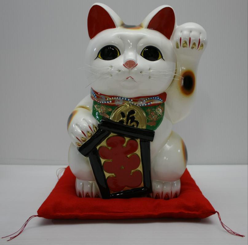 13号招き猫大入り白左手(座布団付)