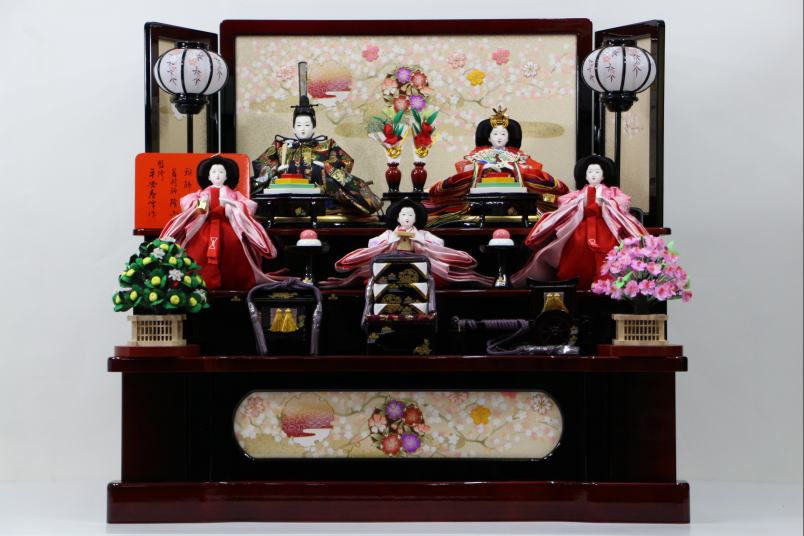 歓喜雛 歓喜雛雪輪桜にカスミ9号屏風五人三段収納飾り 【雛人形三段飾り】