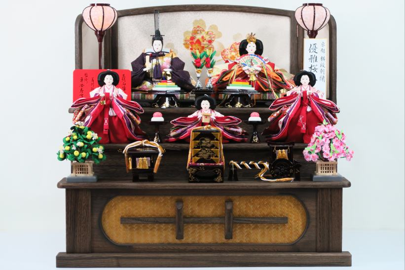 京都横段刺繍優雅桜尽くし衣裳親王五人43a52 雛人形収納飾り