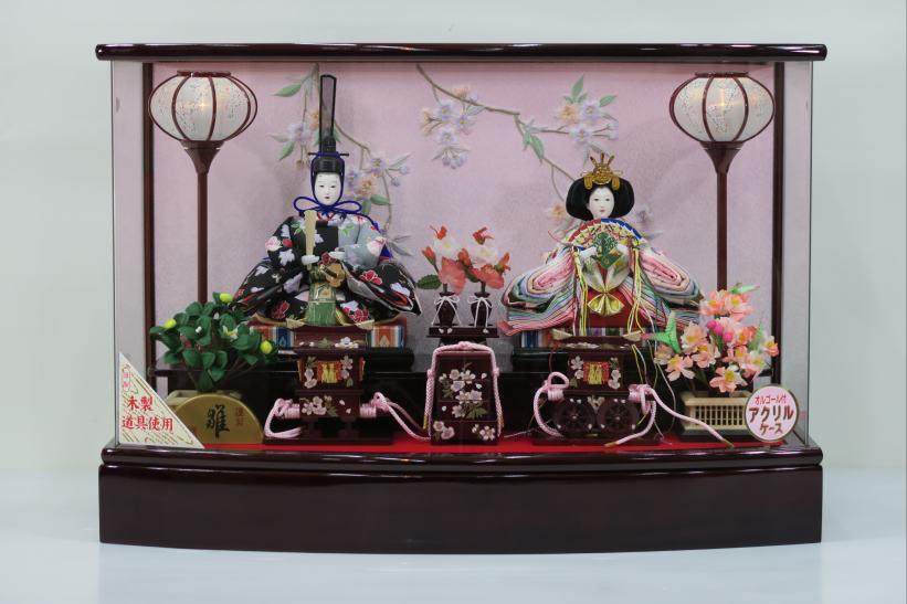 上R芥子アクリルケース2人6-2SK7009 雛人形アクリルケース飾り  【雛人形ケース飾り】