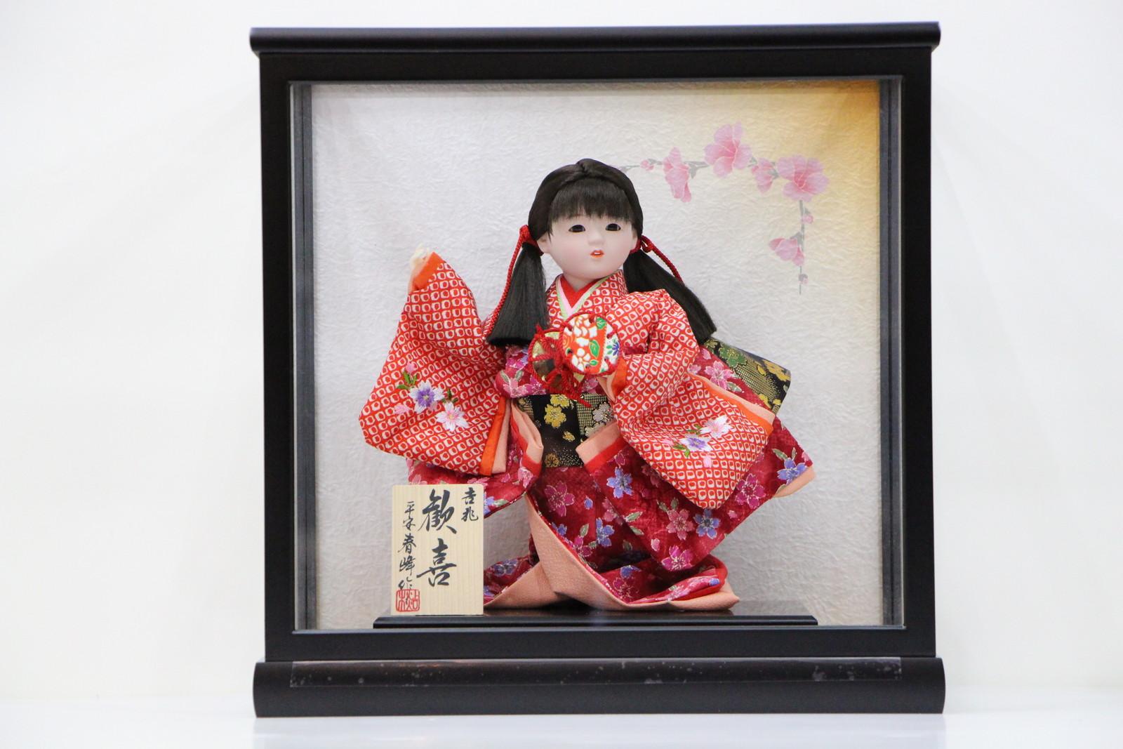 5号初音千草木製枠ガラスケース桜花びらバック飾り 【雛祭り】 【ひな人形】