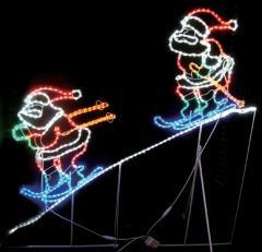 LED2人スキーサンタ【イルミネーション】  【送料無料!!】 クリスマスイルミネーションモチーフ 【smtb-k】【w3】