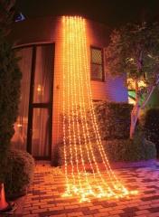 カーテンライト 5m銀コード電球色768球LED コントローラー付可変(防雨) クロスライセンス品 LEDクリスマスイルミネーション 【smtb-k】【w3】
