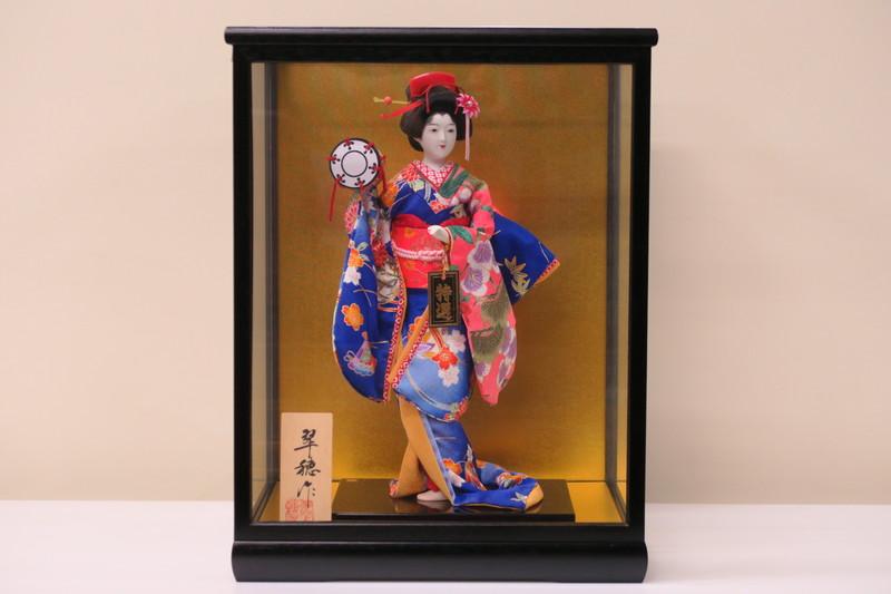 6号 日本人形 友禅片脱 千種 鼓 黒鍬ケース入り 日本製
