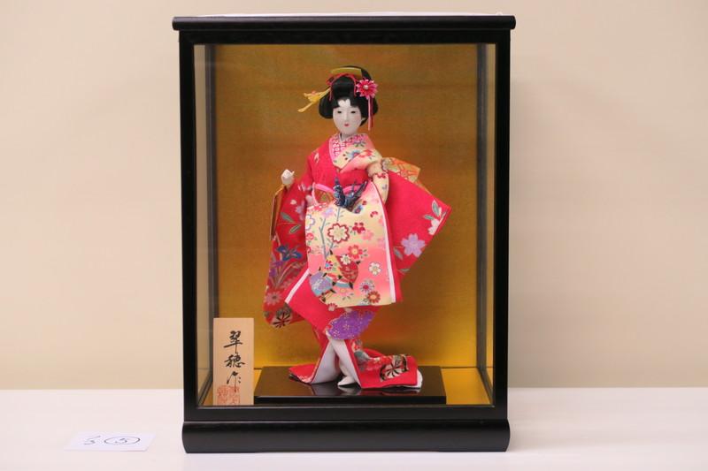 6号 日本人形 友禅片脱 千種 鶴 黒鍬ケース入り 日本製
