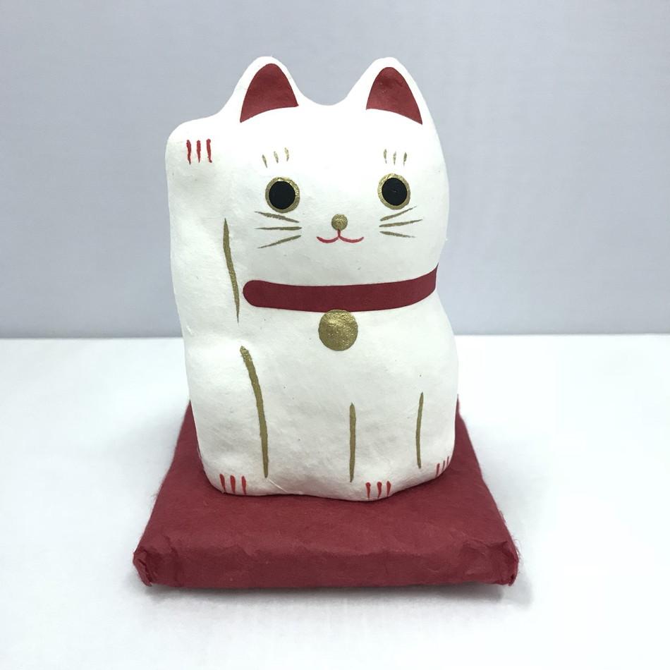 楽天市場】和雑貨 はりこーシカ 招き猫 白 和風 小物 置物 縁起もの ...