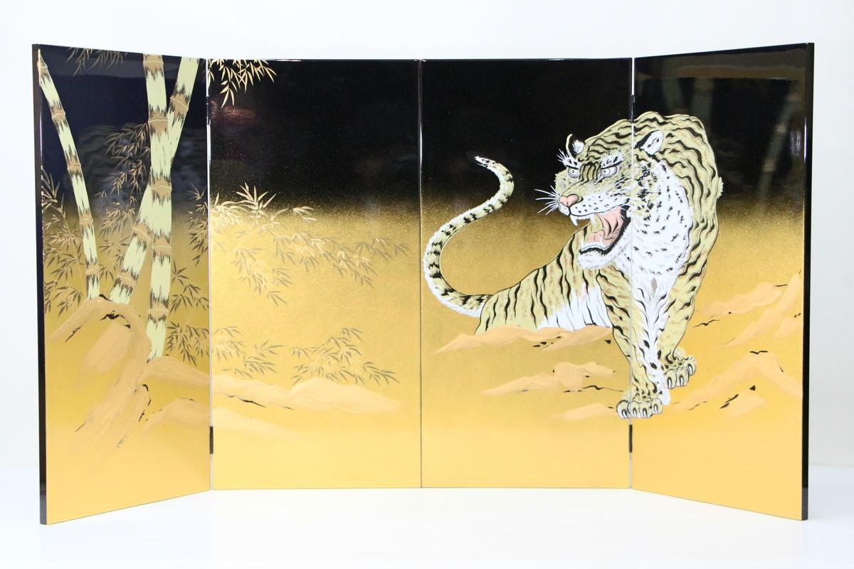 20号 金ボカシ黒塗屏風(竹虎) 五月人形付属品 訳あり特価