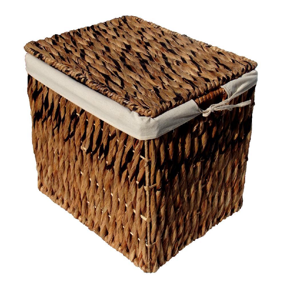 ウォーターヒヤシンスバスケットフタ・布付き 3個セット  かご アジアン BOX 収納 おしゃれ ボックス ヒヤシンス 自然 天然 ベトナム Lサイズ ラージ 送料無料