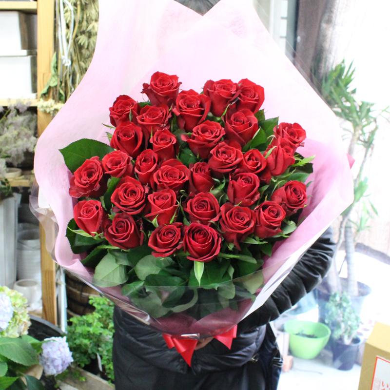 【5/28着迄受付終了】MORIYAROSES♪赤いバラ、ピンクバラ、黄色バラ、オレンジバラから色を選べる30本のバラの花束【スタンダード】季節ごとに品質の良い産地を特選し、選び抜いたバラたちをセンスよく束ねました。