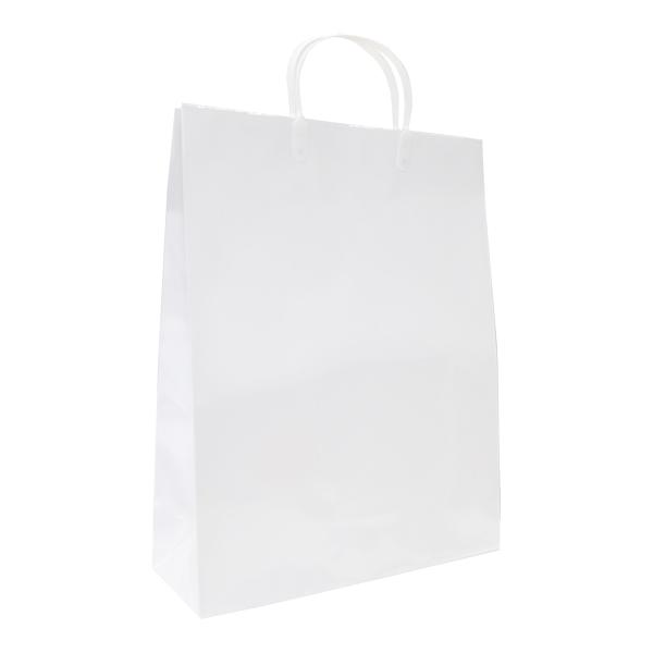 表面をコーティングした水にも強い紙袋 メーカー公式 取っ手もプラスチックで口が閉じられます B4書類サイズ ラッピング ギフト イベント 正規店 持ち帰り PP コート紙 白 手提げ 320×115×410mmグロスラミネート 50枚入 ペーパーバッグ 紙バッグ 紙袋 B4