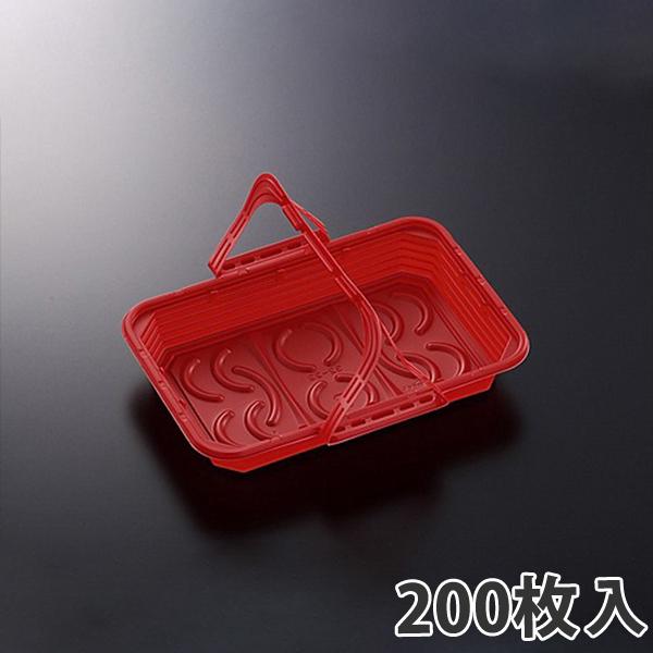 【持ち手付き惣菜容器】 CT WRL32-22 レッド 315×220×44mm(200枚入)