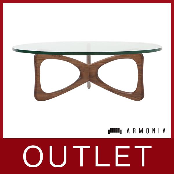 ★アウトレット★円型テーブル ガラステーブル osso[カラー] ウォールナット※天板ガラスにくもりあり。(使用上問題なし)rgt-001-wa