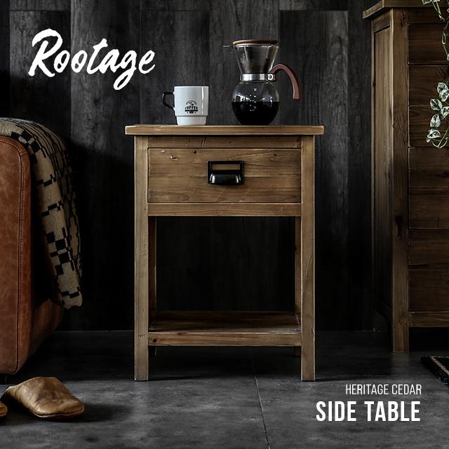 サイドテーブル 完成品 送料無料 無垢材 収納付き ナイトテーブル 引き出し 棚 ベッドサイドテーブル サイドチェスト テーブル 木製 おしゃれ ヴィンテージ ビンテージ アンティーク 古材