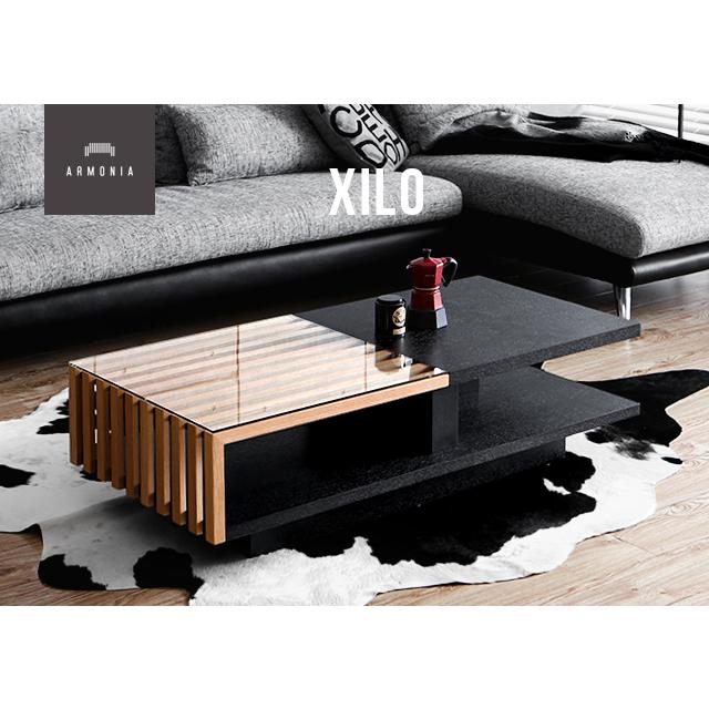 テーブル ローテーブル センターテーブル 北欧 木製テーブル ガラステーブル Xilo ガラス 木目 木製 シンプル デザイナーズ モダン