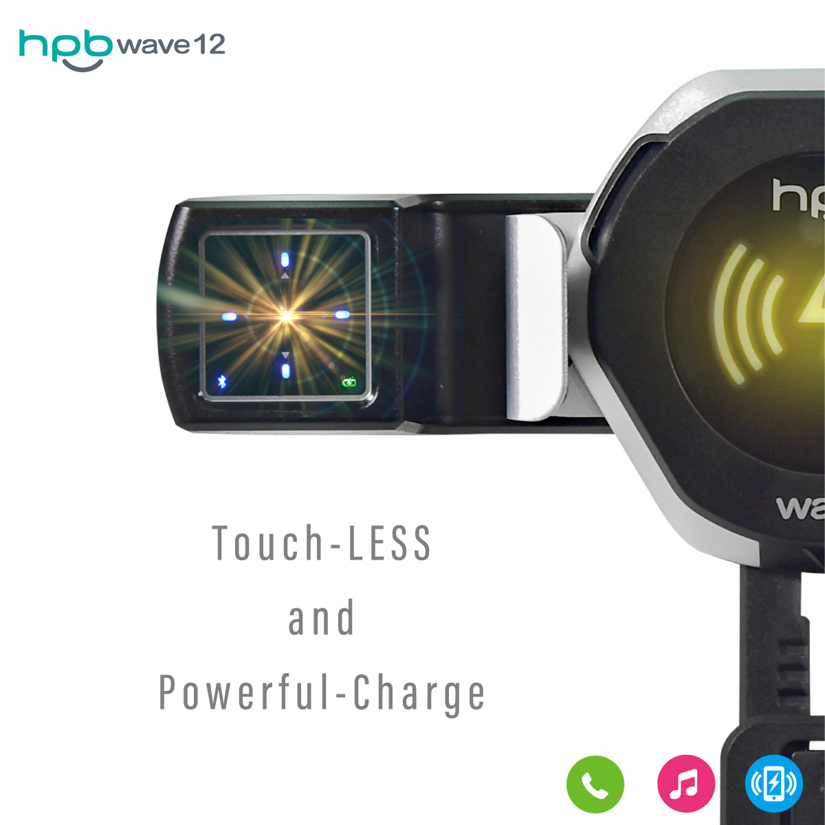 HPB Hi-Tech Corp hpb wave12 Bluetooth接続 スマホ ワイヤレス ジェスチャーコントローラー ジェスチャー操作 ワイヤレス充電器 qi チー スマートフォン 急速 車載用 | 車載充電器 iphone アンドロイド 車載ホルダー エアコン吹出し口 _84139