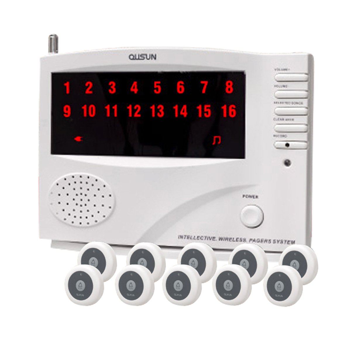 ワイヤレス チャイム コードレスチャイム 業務用 16ch 送信機 10個 白 黒 1年保証 無料登録サービス インターホン 呼び鈴 呼び出しチャイム 店舗 飲食店 介護施設 _92072-1-1
