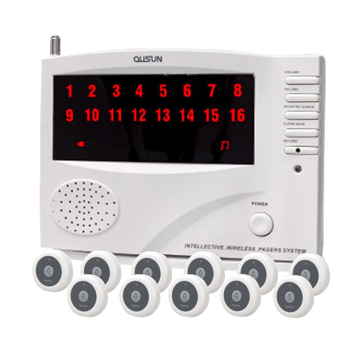 ワイヤレス チャイム コードレスチャイム 業務用 16ch 送信機 11個 白 黒 1年保証 無料登録サービス インターホン 呼び鈴 呼び出しチャイム 店舗 飲食店 介護施設 _92073-1-1