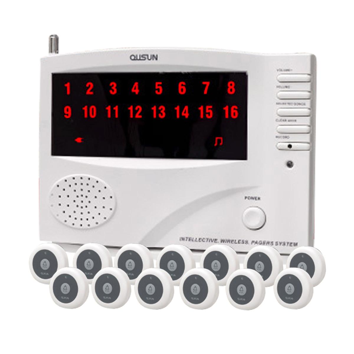 ワイヤレス チャイム コードレスチャイム 業務用 16ch 送信機 13個 白 黒 1年保証 無料登録サービス インターホン 呼び鈴 呼び出しチャイム 店舗 飲食店 介護施設 _92075-1-1