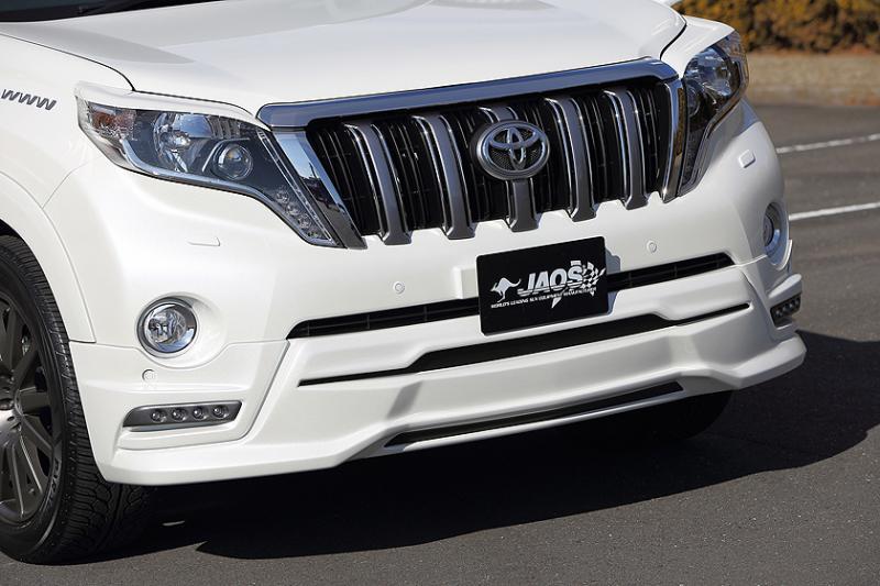 JAOS ジャオス フロントハーフスポイラー 【B020066】 LEDデイランプ付 プラド 150系 (未塗装:生地色ブラック)