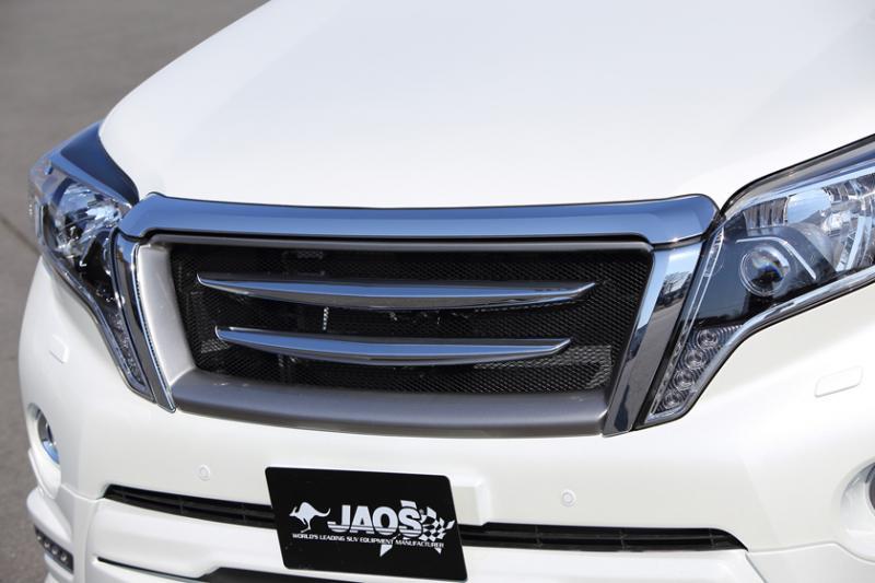 JAOS ジャオス クロームブレードグリル 【B061066A】 フロントカメラ無用 プラド 150系 (フレーム:白ゲルコート未塗装)