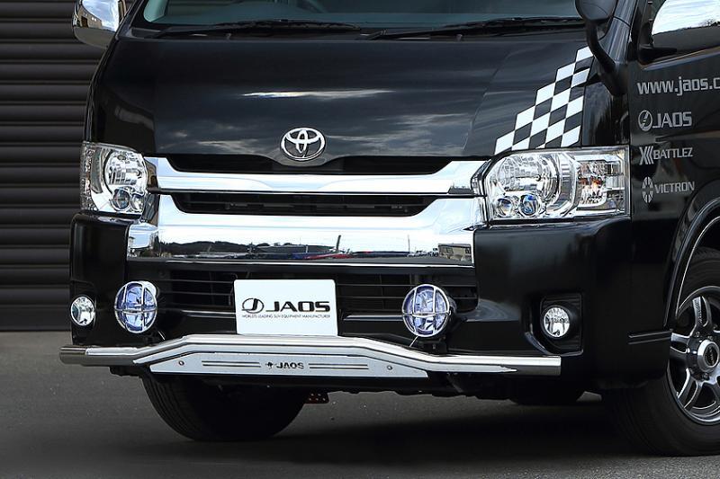 4WD SUV ジャオス JAOS フロントスキッドバー ポリッシュ ブラスト トヨタ ハイエース 200系 B150204A 10.07- FRONT用 オフロード WIDE 3型 TOYOTA 200ハイエースワイド HIACE お値打ち価格で 日本最大級の品揃え ワイドボディ スキッドバー 4型 カスタム