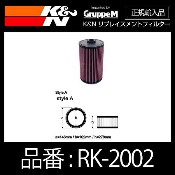 K&N リプレイスメントフィルター NISSAN NV350 キャラバン E26系 全車 2.0ガソリン/2.5ガソリン/2.5ディーゼルターボ用【RK-2002】
