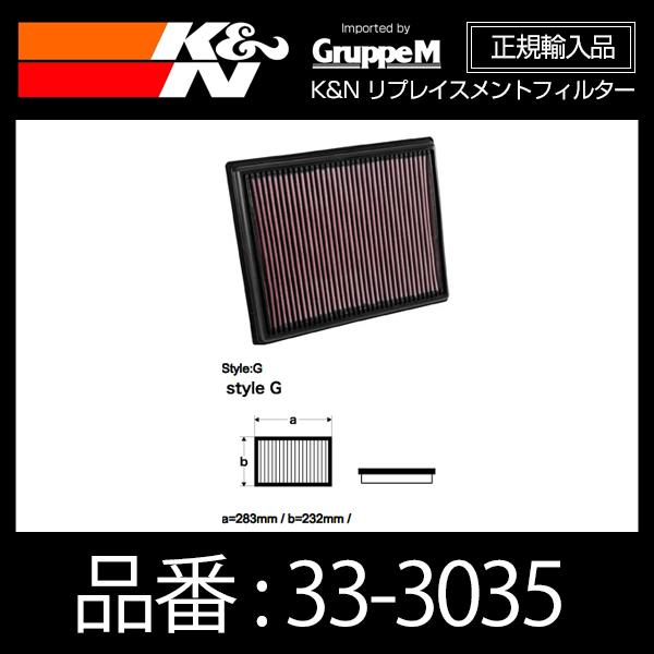 K&N リプレイスメントフィルター AUDI S1 2.0T (8XCWZF)用【33-3035】